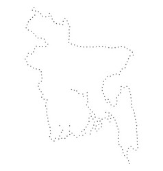 dot stroke bangladesh map vector image