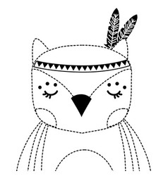 dotted shape cute owl animal with feathers vector image
