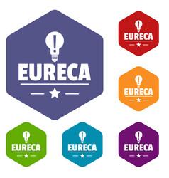 Eureka bulb icons hexahedron vector