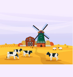 farm landscape with windmill barn and livestock vector image