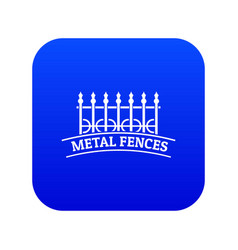 Fence iron icon blue vector