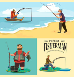 Flat fisherman hat sits on shore with fishing rod vector