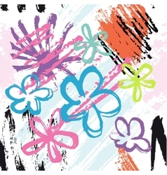 Flowers and brush strokes on white background vector
