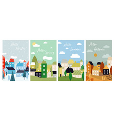 four season cards autumn winter spring summer vector image