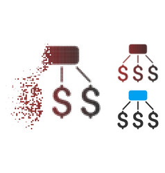 Fragmented pixel halftone financial scheme icon vector