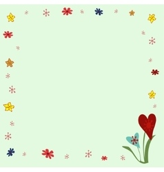 Frame floral ornament on a green background vector