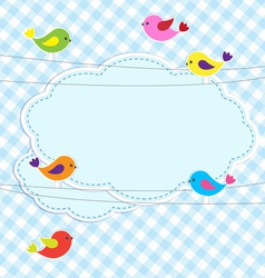 Frame with birds on wires vector image vector image