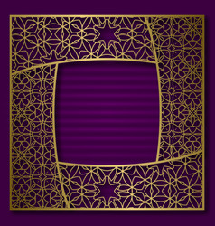 Golden cover background frame in square form vector