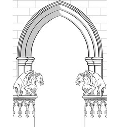Gothic arch with gargoyles frame or print vector