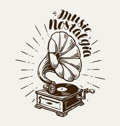 gramophone phonograph record-player sketch vector image