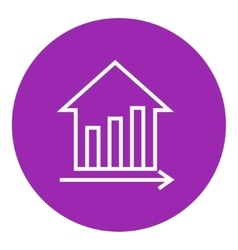 Graph of real estate prices growth line icon vector image