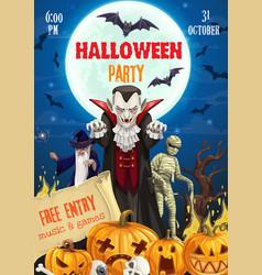 halloween pumpkins dracula vampire mummy wizard vector image