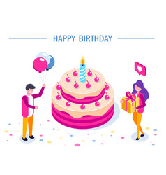 happy birthday concept big cake with a vector image