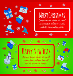 happy new year banner merry christmas giftcard vector image