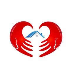 house with caring and supportive hand logo vector image