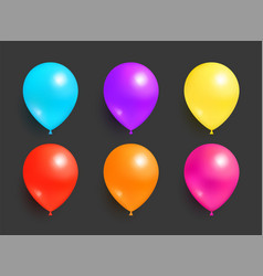 inflatable flying balloons blue purple yellow red vector image
