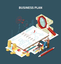 isolated isometric business strategy composition vector image