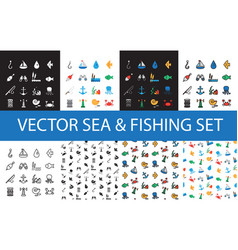 isolated marine and fishing icons set vector image