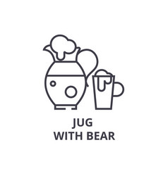 jug with bear line icon outline sign linear vector image