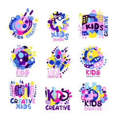 Kid creative set colorful logo graphic vector