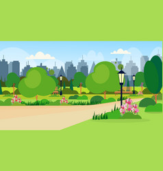 Landscape of city public summer park scene wooden vector