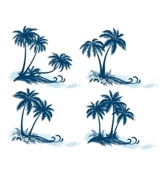 Landscapes Palm Trees Silhouettes vector