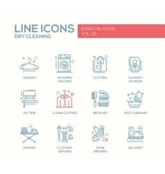 Laundry - line design icons set vector