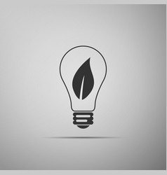 light bulb with leaf icon eco energy concept vector image
