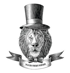 Lion man logo with banner hand draw vintage vector