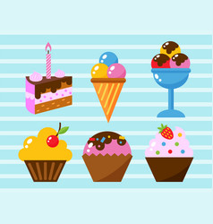 little delicious cupcakes sweet dessert vector image