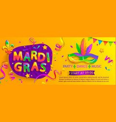 Mardi gras bannerinviting for carnival party vector