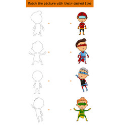 Match the picture set of character superhero kids vector