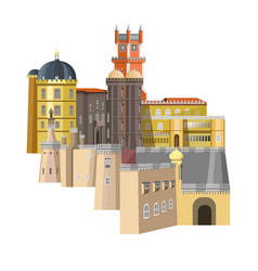Medieval buildings with unusual structure and rich vector