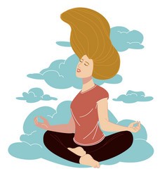 meditation and yoga lightness and clarity mind vector image
