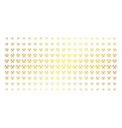 Mining hammers gold halftone grid vector