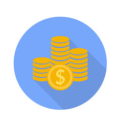 money symbol icon on white background with shadow vector image