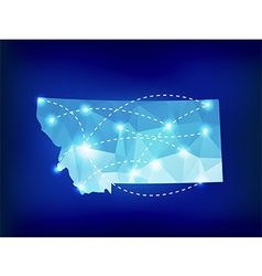 Montana state map polygonal with spotlights places vector image