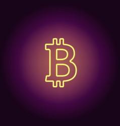 neon icon of yellow bitcoin vector image