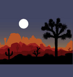 night landscape with joshua tree and mountains vector image