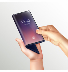 opening folding phone composition vector image