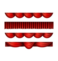 Pelmet red curtains set vector