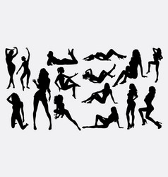 people sexy female activity silhouette vector image