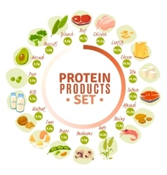 Protein Containing Products Flat Circle Diagram vector image