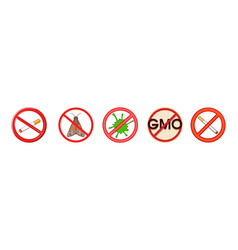 restricted sign icon set cartoon style vector image