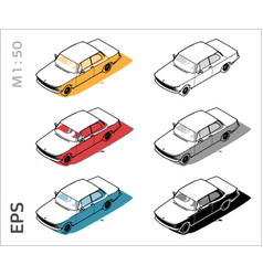 retro old car icons set for architectural vector image