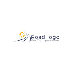 road logo with sun above transportation logo vector image