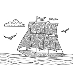 Sailing ship coloring book for adults vector image