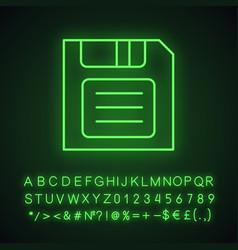 Save button neon light icon vector
