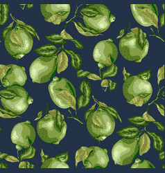 seamless pattern with juicy limes and lemons on vector image