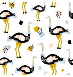 seamless pattern with ostrich and hand drawn vector image
